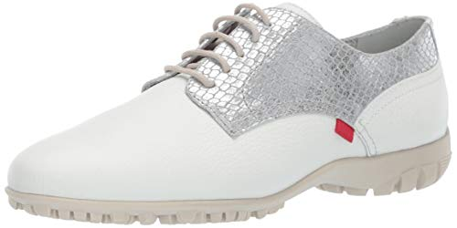 Marc Joseph New York Womens Golf Genuine Leather Made in Brazil Pacific Lace up Fashion Shoe Moccasin, White Grainy/Silver, 7.5 B(M) US