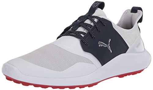 PUMA mens Ignite Nxt Lace Golf Shoe, Puma White-puma Silver-peacoat, 9.5 US