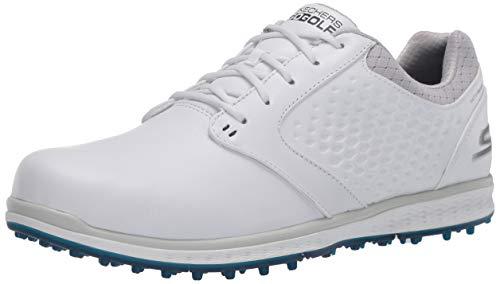 Skechers Go Golf Women's Elite 3 Spikeless Waterproof Golf Shoe, White/Navy Leather, 5.5 M US