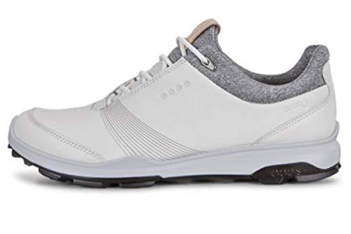 ECCO Women's Biom Hybrid 3 Gore-Tex Golf Shoe, White/Black Yak Leather, 4-4.5