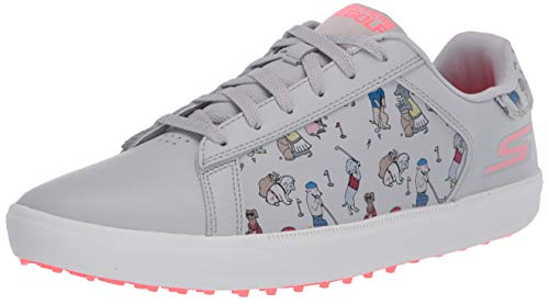 Skechers Women's Go Drive Dogs at Play Spikeless Golf Shoe, Gray/Pink, 5.5