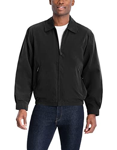 LONDON FOG Men's Auburn Zip-Front Golf Jacket (Regular & Big-Tall Sizes), Black, Large