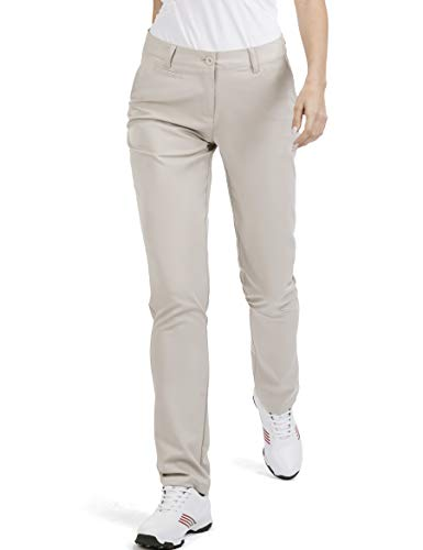 Women's Golf Pants Stretch Straight Lightweight Breathable Twill Work Chino Ladies Pants Size 14 Beige