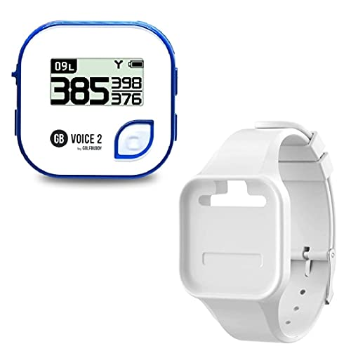 Golf Buddy Voice 2 Talking GPS Rangefinder (Bundle), Long Lasting Battery Golf Distance Range Finder & Silicon Strap Wristband, Easy-to-use Golf Navigation for Hat (Blue Voice 2 + White Wristband)