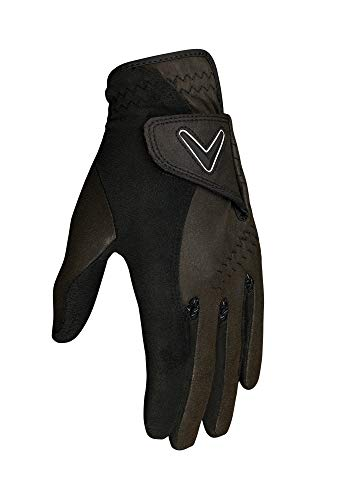 Callaway Golf Men's Opti Grip Wet Condition Golf Glove, 1 Pair (Left and Right), Small , Black