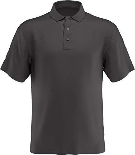 PGA TOUR Men's Airflux Short Sleeve Solid Golf Polo-Shirts, Asphalt, XXL