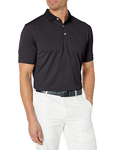 Callaway Men's Golf Short Sleeve Solid Ottoman Polo Shirt, Black, Large
