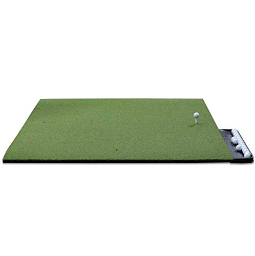 DURA-PRO Commercial Golf Mat - 5x5 Feet Premium Turf Indoor/Outdoor Mat for Hitting & Chipping - Golf Stance Mat for Pros & Beginners w/Golf Accessories (Golf Tray + 3 Rubber Golf Tees)