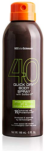 MDSolarSciences Quick Dry Body Spray SPF 40 NonGreasy FastDrying Sunscreen Provides 80 Minutes of WaterResistant Broad Spectrum Sun Protection, Black, 5 Fl Oz