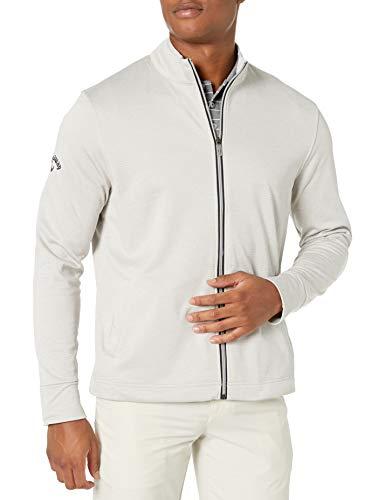 Callaway Men's Golf Full Zip Long Sleeve Waffle Knit Fleece Jacket, High Rise Heather, Large