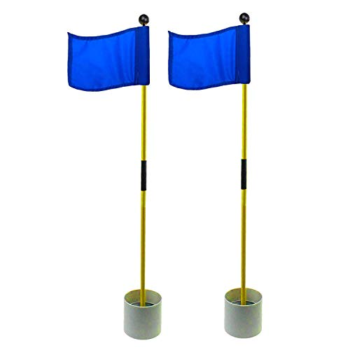 Crestgolf 2-Section Portable Backyard Practice Golf Hole Cup and Flag Stick of Fiberglass, Golf Putting Green Flagstick 2 Sets Count (Solid Blue)