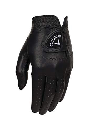 Callaway Golf Men's OptiColor Leather Glove, Black, Medium, Worn on Left Hand