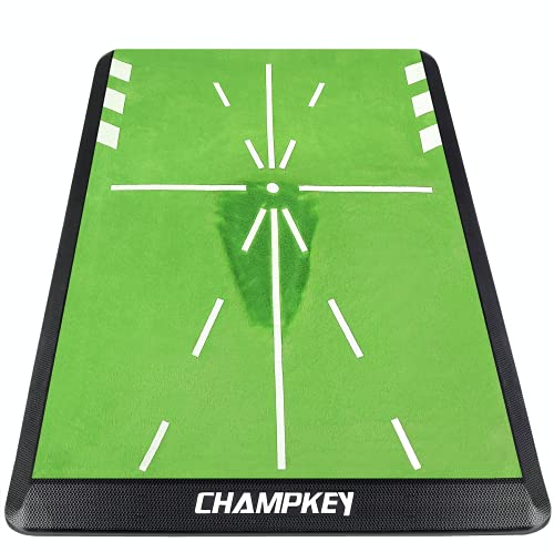 CHAMPKEY Premium Golf Impact Mat 1.0 Edition | Analysis Swing Path and Correct Hitting Posture Golf Practice Mat | Advanced Guide and Rubber Backing Golf Hitting Mat