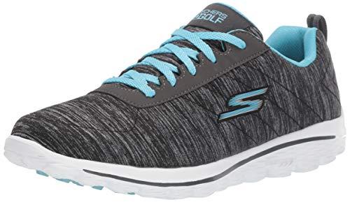 Skechers GO GOLF womens Walk Sport Relaxed Fit Golf Shoe, Black/Blue, 7.5 US