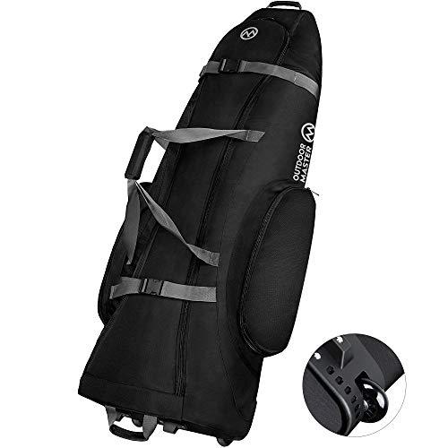OutdoorMaster Padded Golf Club Travel bag with Wheels, 900D Heavy Duty Oxford Waterproof -Alligators - Black