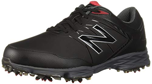 New Balance Men's Striker Waterproof Spiked Comfort Golf Shoe, Black/red, 11 2E 2E US