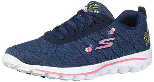 Skechers Women's Go Walk Sport Relaxed Fit Golf Shoe, Navy/White Bloom, 7 M US