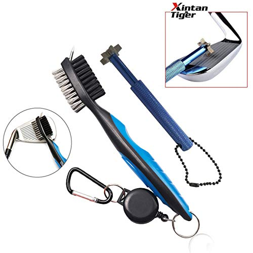 Xintan Tiger Golf Tool Set -Retractable Golf Club Brush and 6 Heads Golf Club Groove Sharpener.Perfect Gift for Golfers-Practical Sharp and Clean Kits for All Golf Irons(Blue)