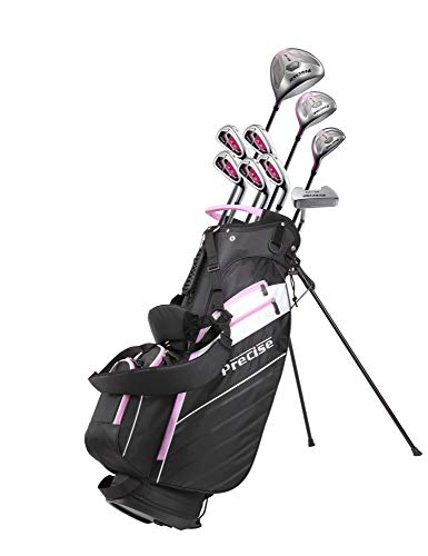 Precise AMG Ladies Womens Complete Golf Clubs Set Includes Driver, Fairway, Hybrid, 6-PW Irons, Putter, Stand Bag, 3 H/C's - Choose Color and Size! (Pink, Petite Size -1')