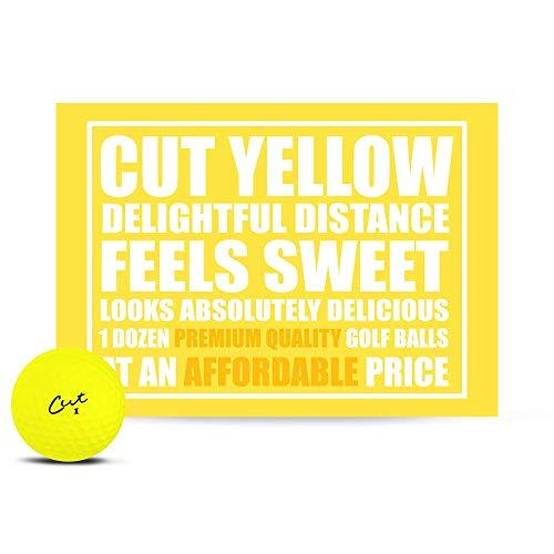 Cut Golf Balls, Yellow Matte Colored (One Dozen)