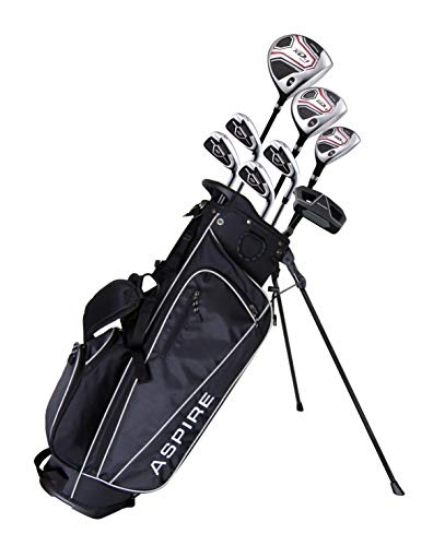 Aspire XD1 Teenager Complete Golf Set Includes Driver, Fairway, Hybrid, 7, 8, 9, Wedge Irons, Putter, Stand Bag, 3 HC'S Teen Ages 13-16 Right Hand - Height 5'1' - 5'6'