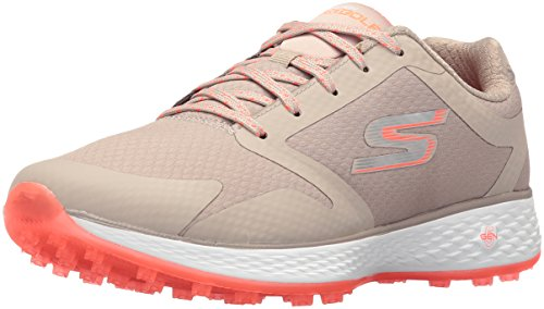 Skechers Performance Women's Go Golf Birdie Golf Shoe, NATURAL/Coral, 5.5 M US