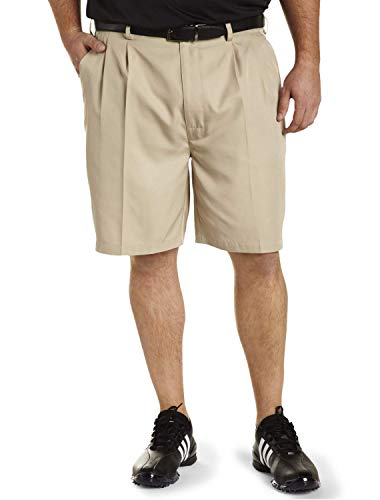 Reebok Big and Tall Golf Play Dry Continuous Comfort Pleated Shorts, Khaki, 46 Reg