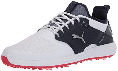Puma Golf Men's Ignite Pwradapt Caged Golf Shoe, Puma White-Puma Silver-Peacoat, 11.5 M US