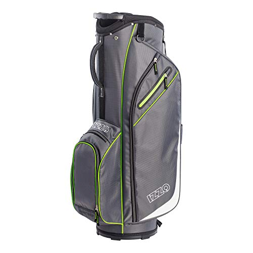 Izzo Golf Izzo Ultra-Lite Cart Golf Bag With Single Strap & Exclusive Features, Gray/Lime
