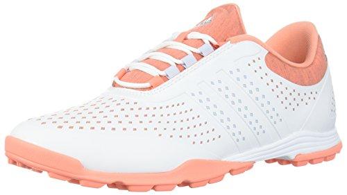 adidas Women's Adipure Sport Golf Shoe, White/Aero Blue/Chalk Coral, 10 Medium US