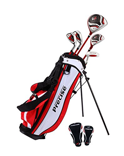 Distinctive Right Handed Junior Golf Club Set for Age 6 to 8 (Height 3'8' to 4'4') Set Includes: Driver (15'), Hybrid Wood (22, 2 Irons, Putter, Bonus Stand Bag & 2 Headcovers