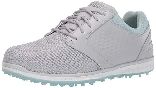 Skechers Women's Go Elite 3 Grand Relaxed Fit Spikeless Waterproof Golf Shoe, Gray/Mint, 7 M US