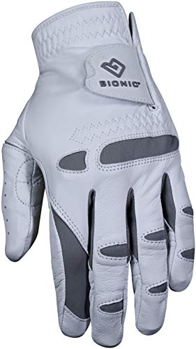 Bionic Gloves – Men's PerformanceGrip Pro Premium Golf Glove made from Long Lasting, Genuine Cabretta Leather, Medium/Large , White