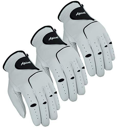 Apical Premium Leather Golf Glove Stable Grip Mens Golf Gloves Durable Value Pack (Pack of 3) Genuine Cabretta Leather Golf Gloves Men Left Hand (Regular Sizes) (Medium, Left Handed)