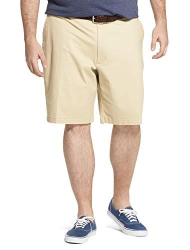 IZOD Men's Big & Tall Saltwater 9.5' Flat Front Chino Short, Pale Khaki Brown, 44