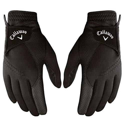 Callaway mens Golf Thermal Grip, Cold Weather Golf Gloves, Small, 1 Pair, (Left and Right), Black