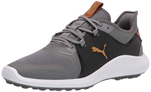 PUMA Men's Ignite Fasten8 Golf Shoe, Quiet Shade-Gold Black, 10