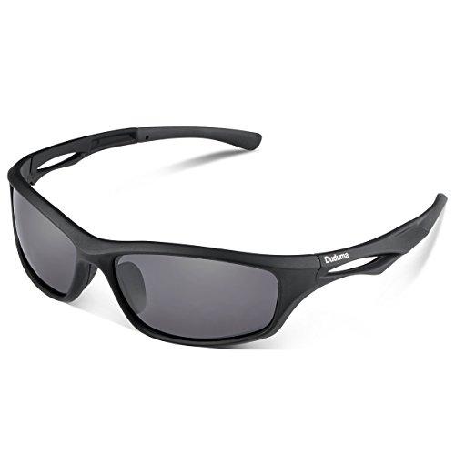 Duduma Polarized Sports Sunglasses for Men Women Baseball Running Cycling Fishing Driving Golf Softball Hiking TR90 Unbreakable Frame (black matte frame with black lens)