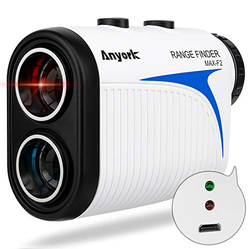 Anyork Rechargeable Golf Rangefinder with Slope Compensation On/Off 1500yards,Laser Range Finder Gift,Flag-Lock Tech with Vibration,USB Charging,Clear View,Fast Reading,Continuous Scan,Gift Package