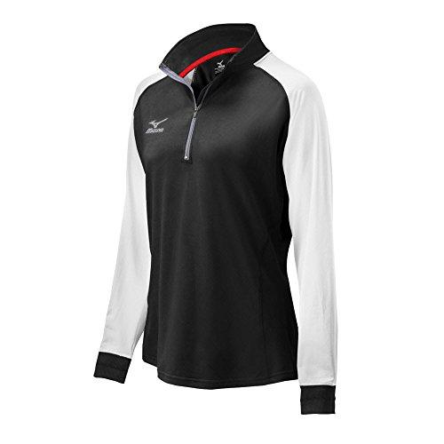 Mizuno Elite 9 Prime 1/2 Zip Jacket, Black/White, Medium