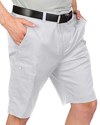 Dry Fit Cargo Golf Shorts for Men - Lightweight, Moisture Wicking Casual Short - 10.5 Inch Inseam Silver