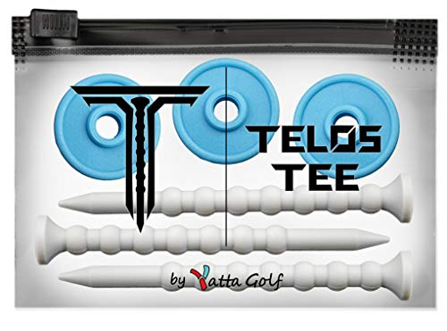 YATTA GOLF Telos Premium Golf Tees – Adjustable Golf Tees – Tee Off with Greater Consistency & Shoot Better Scores - Unbreakable Golf Tees – Lasts The Average Golfer A Season (3 Pack, Ice Blue)