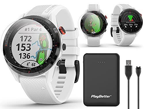 Garmin Approach S62 (White) Premium Golf GPS Watch Bundle | +PlayBetter Portable Charger (Large) & HD Screen Protectors | Virtual Caddie, 41,000+ Courses, Slope | Best Golf GPS Watch | 010-02200-01