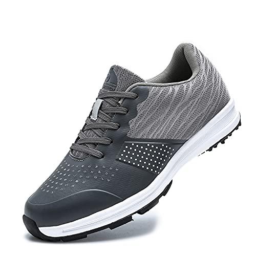 THESTRON Men's Golf Shoes Walking Sneakers Training Sports Golf Shoe Grey