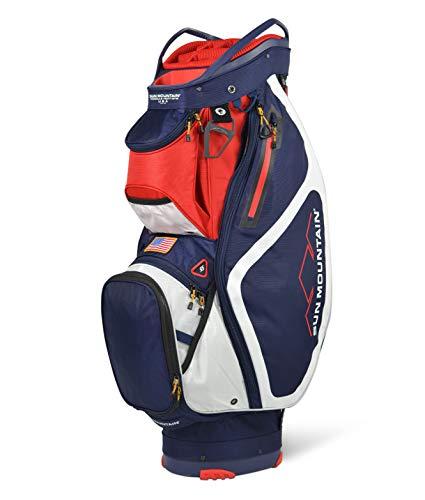 Sun Mountain Mens 2022 Maverick 14-Way Divided Golf Cart Bag - Navy-White-RED