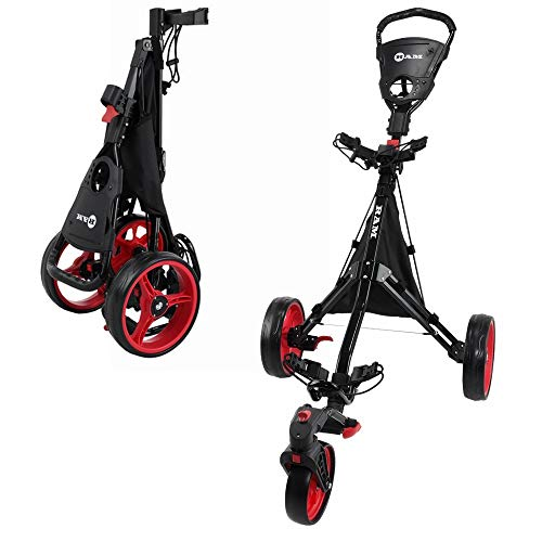 RAM Golf Push/Pull 3-Wheel Golf Cart with 360 Degree Rotating Front Wheel for Ultimate Agility