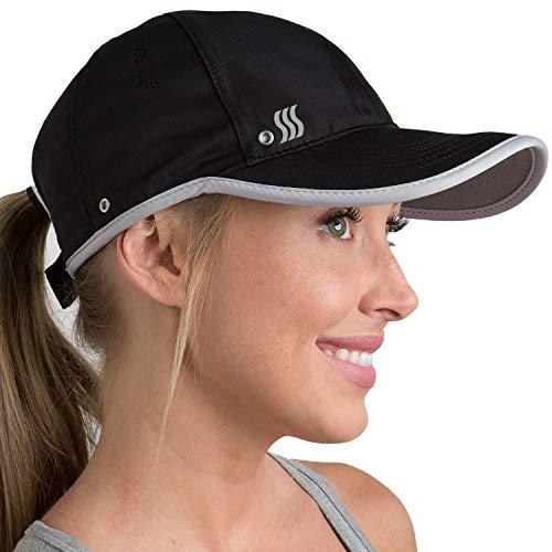 SAAKA Performance Sports Hat. Lightweight, Quick Drying. Running, Tennis & Golf Cap for Women (Black)