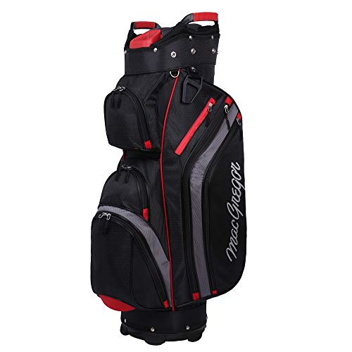 MACGREGOR Golf Cooler 14-Divider Top Cart Bag with Removable Insulated Cooler Black/Red