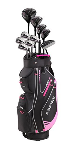 Aspire PRO-X Ladies Womens Complete Right Handed Golf Clubs Set Includes Titanium F Driver, 3 Fairway Wood, 4-5 Hybrids, 7-SW Irons, Putter, Cart Bag, 4 H/C's (Petite Size -1', Right Hand)