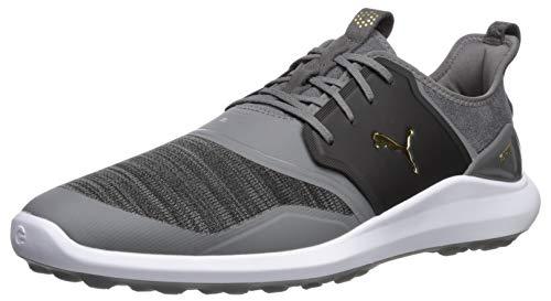 Puma Golf Men's Ignite Nxt Lace Golf Shoe, Quiet Shade-Puma Team Gold-Puma Black, 9.5 Wide US
